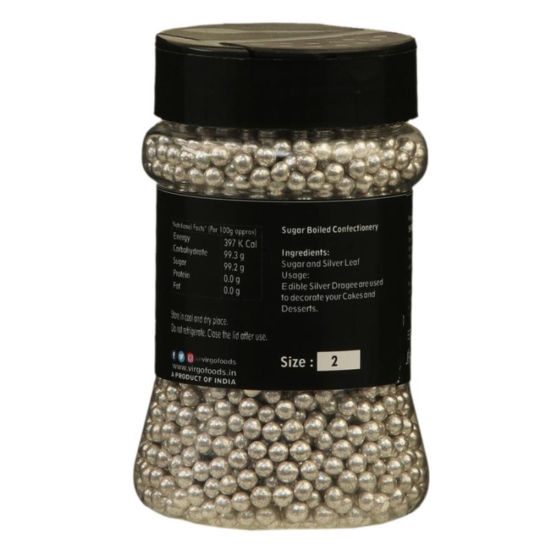 Virgo Silver Balls Edible Size 2 - 175 Gms